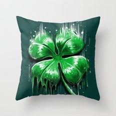 Four Leaf Clover Melting Luck Throw Pillow