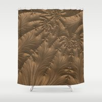 renaissance Shower Curtains featuring Renaissance Brown by Charma Rose