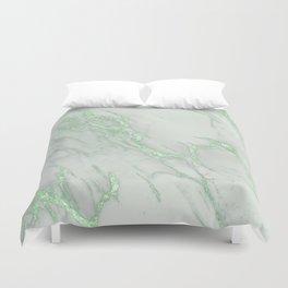 Marble Love Green Metallic Duvet Cover
