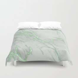 Marble Love Green Metallic Duvet Cover