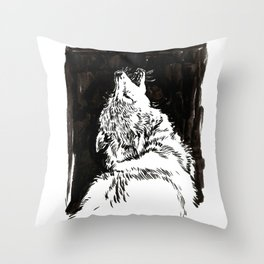 graphic wolf study Throw Pillow
