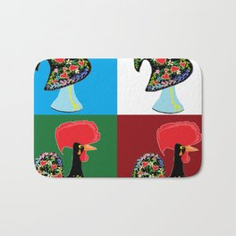 Portuguese Rooster Cluster Bath Mat