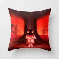 majora Throw Pillows featuring MAJORA MASK by Veylow