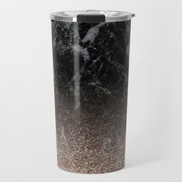 Glitter ombre - black marble & rose gold glitter Travel Mug