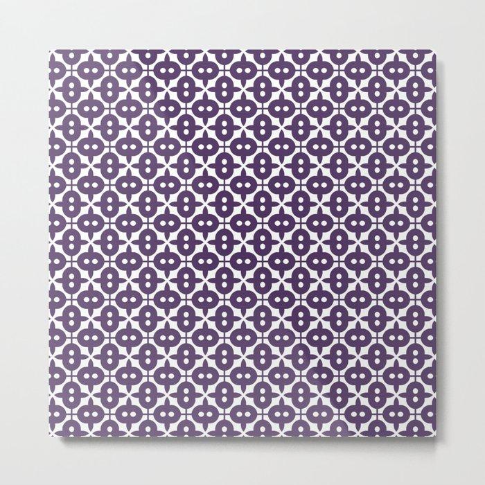 Dark Violet Plum and White Pattern Metal Print