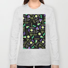 Geometrical retro lime green neon purple 80's abstract pattern Long Sleeve T-shirt