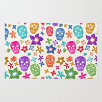 sugar skulls Area & Throw Rugs featuring Sugar Skulls by Emmyrolland