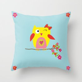 Cute Yellow Owl - Pink Flowers Illustration Throw Pillow