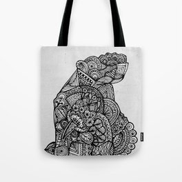Sitting Hippo Doodle Tote Bag