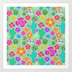 Cactus Festival Party - Green Art Print