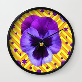 DECORATIVE LILAC PURPLE PANSIES  FLOWERS & PURPLE STARS Wall Clock