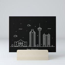 San Antonio Minimal Nightscape / Skyline Drawing Mini Art Print