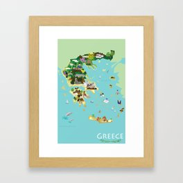 Illustrated Graphic Map of Greece Framed Art Print