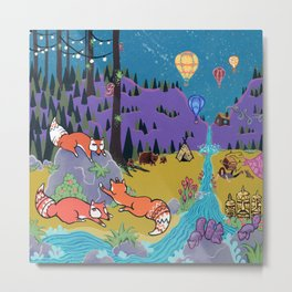 Foxy Forest Metal Print