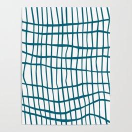Net Blue on White Poster