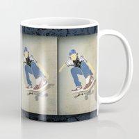 skateboard Mugs featuring Skateboard 1 by Aquamarine Studio