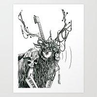 Cable Elk. Art Print