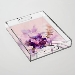 Vintag Bicycle and Flowers Acrylic Tray