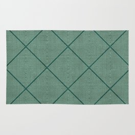 Stitched Diamond Geo Grid in Green Rug