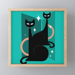 Fashionable Felines Atomic Age Black Kitschy Cats Framed Mini Art Print