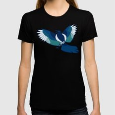 Magpie LARGE Womens Fitted Tee Black