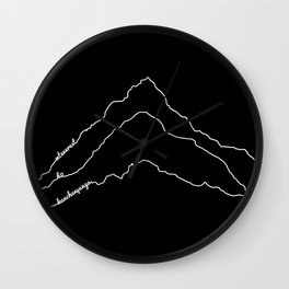 Tallest Mountains in the World / Mt Everest K2 Kanchenjunga / B&W Minimalist Line Drawing Art Print Wall Clock