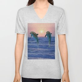 Dolphins at sunrise Unisex V-Neck