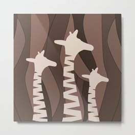 Abstract Giraffe Family Metal Print