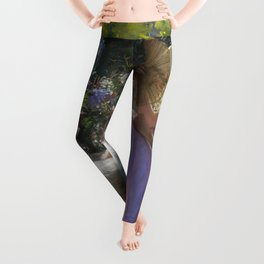 The Still of Morning, female daybreak garden veranda portrait painting by V. Redondo Leggings