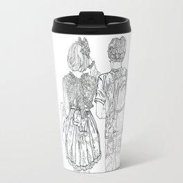 Geometric drawing Japanese couple black and white illustration Travel Mug