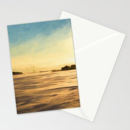 Winter Landscape Countryside Painting Style Stationery Cards
