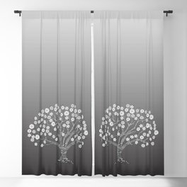 zen tangled apple tree with blossom on the grey gradient Blackout Curtain