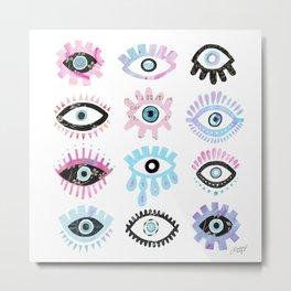 Evil Eyes Pink  Metal Print