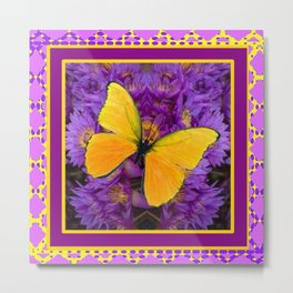 DECORATIVE LILAC-YELLOW FRAMED BUTTERFLY Metal Print