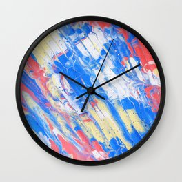 Fluid Acrylic Painting Multi Color Glitch Wave Effect Red Blue Yellow Wall Clock