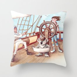 Girl Captain and her Koala Throw Pillow
