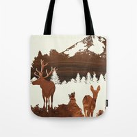 woodland Tote Bags featuring woodland by jefdesigns