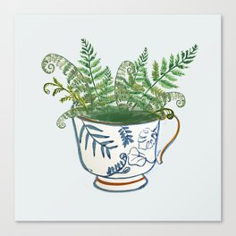 Fern in a Blue and White Tea Cup Canvas Print