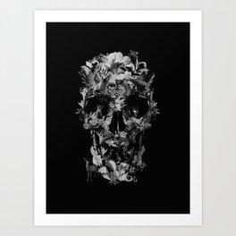 Jungle Skull B&W Art Print