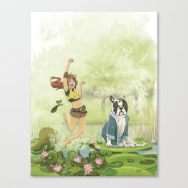 Toto and the frogs Canvas Print
