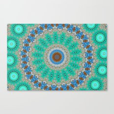 Lovely Healing Mandalas in Brilliant Colors: Blue, Brown, Teal, Silver and Gold Canvas Print