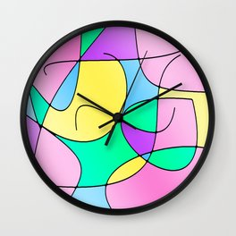 ABSTRACT CURVES #1 (Multicolor Light) Wall Clock