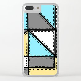 Marker Patchwork – Triangles and Rectangles – Gray Blue Yellow Clear iPhone Case