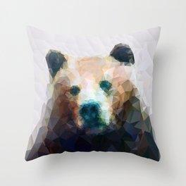 Wild Bear Low Poly Geometric Minimalist Design Throw Pillow