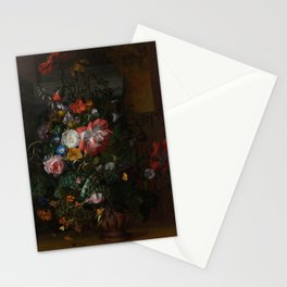 Rachel Ruysch - Roses, Convolvulus, Poppies and other flowers in an Urn on a Stone Ledge (1680) Stationery Cards