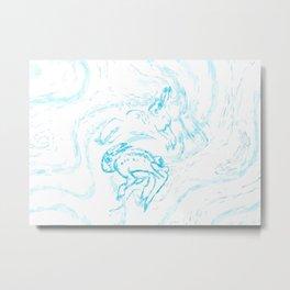 Snow Hare Dance in Blue Metal Print