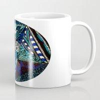 pentagram Mugs featuring Blue Toned Pentagram by Nix Hunt