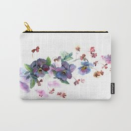 Watercolor hand painted pansies in gentle tone. Carry-All Pouch