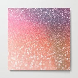 Rose Gold Peach Glitter Blush Metal Print