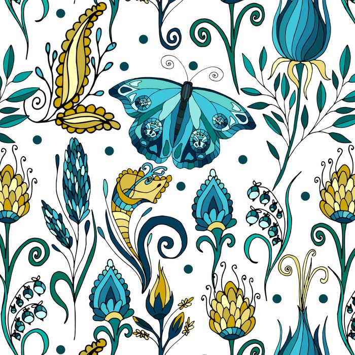 Floral pattern with butterfly Leggings